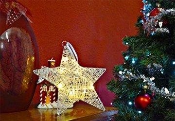 Nipach GmbH 10 LED Stern in Rattanoptik Leuchtfarbe warm-weiß Batterie Timer Ø 25 cm Dekostern Weihnachtsdeko Rattanstern Stimmungsleuchte Weihnachtsstern - 4