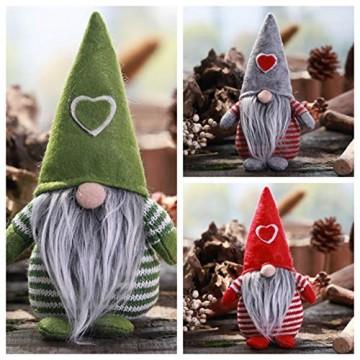 Non-Woven-Hut mit Herz Handmade Gnome Santa Weihnachtsfiguren Ornament Holiday Table Decor Festliche Gegenwart Balight - 2