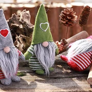 Non-Woven-Hut mit Herz Handmade Gnome Santa Weihnachtsfiguren Ornament Holiday Table Decor Festliche Gegenwart Balight - 4
