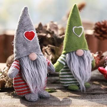 Non-Woven-Hut mit Herz Handmade Gnome Santa Weihnachtsfiguren Ornament Holiday Table Decor Festliche Gegenwart Balight - 6
