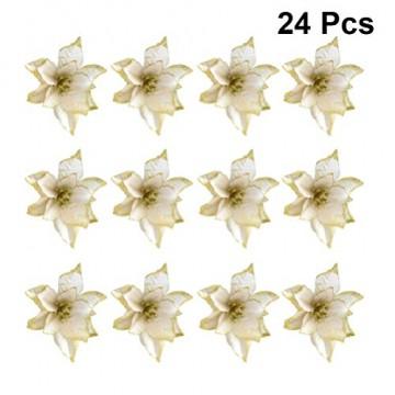 NUOBESTY 24pcs Glitter Weihnachtsstern Christbaumschmuck künstliche Weihnachtsstern Blume für Weihnachtsschmuck golden - 3