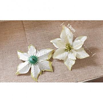 NUOBESTY 24pcs Glitter Weihnachtsstern Christbaumschmuck künstliche Weihnachtsstern Blume für Weihnachtsschmuck golden - 4