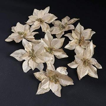 NUOBESTY 24pcs Glitter Weihnachtsstern Christbaumschmuck künstliche Weihnachtsstern Blume für Weihnachtsschmuck golden - 5