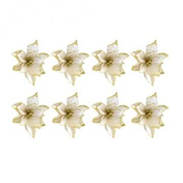 NUOBESTY 24pcs Glitter Weihnachtsstern Christbaumschmuck künstliche Weihnachtsstern Blume für Weihnachtsschmuck golden - 6