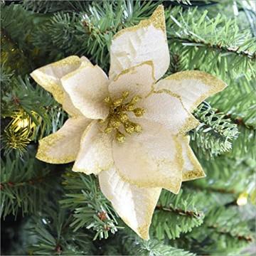 NUOBESTY 24pcs Glitter Weihnachtsstern Christbaumschmuck künstliche Weihnachtsstern Blume für Weihnachtsschmuck golden - 7