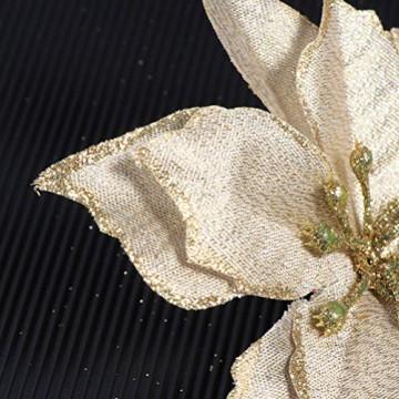 NUOBESTY 24pcs Glitter Weihnachtsstern Christbaumschmuck künstliche Weihnachtsstern Blume für Weihnachtsschmuck golden - 8
