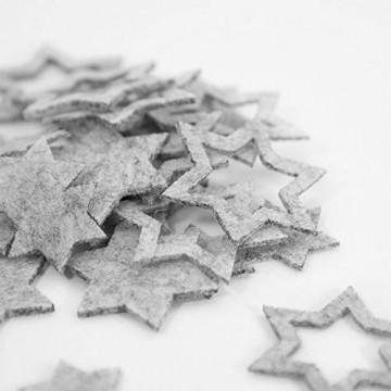 Oblique Unique® 24 Filz Sterne Weihnachtsdeko Tischdeko Weihnachten Deko 3 Motive - Farbe wählbar (Weissgrau) - 2