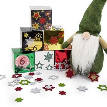 Oblique Unique® 24 Filz Sterne Weihnachtsdeko Tischdeko Weihnachten Deko 3 Motive - Farbe wählbar (Weissgrau) - 3