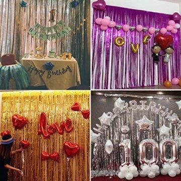 ONUPGO 3 Stück Schwarz Folienvorhänge Fransen, 1 m x 3 m, glänzendes Metallic-Lametta-Vorhang für Neujahr, Fotokabine, Türvorhang, perfekt für Geburtstag, Hochzeit, Weihnachten, Party-Dekorationen - 3