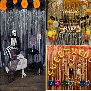 ONUPGO 3 Stück Schwarz Folienvorhänge Fransen, 1 m x 3 m, glänzendes Metallic-Lametta-Vorhang für Neujahr, Fotokabine, Türvorhang, perfekt für Geburtstag, Hochzeit, Weihnachten, Party-Dekorationen - 4