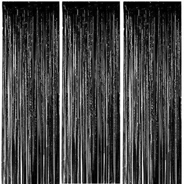 ONUPGO 3 Stück Schwarz Folienvorhänge Fransen, 1 m x 3 m, glänzendes Metallic-Lametta-Vorhang für Neujahr, Fotokabine, Türvorhang, perfekt für Geburtstag, Hochzeit, Weihnachten, Party-Dekorationen - 1