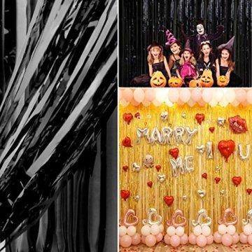 ONUPGO 3 Stück Schwarz Folienvorhänge Fransen, 1 m x 3 m, glänzendes Metallic-Lametta-Vorhang für Neujahr, Fotokabine, Türvorhang, perfekt für Geburtstag, Hochzeit, Weihnachten, Party-Dekorationen - 6