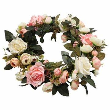 Pauwer Deko Kranz Wandkranz Handgefertigt Kranz Für Outdoor Türkranz Rose Rebe Blumenkranz Künstliche Dekorative Landschaftsbau Kranz (Pinke Rose, Durchmesser 35cm) - 3