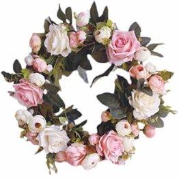 Pauwer Deko Kranz Wandkranz Handgefertigt Kranz Für Outdoor Türkranz Rose Rebe Blumenkranz Künstliche Dekorative Landschaftsbau Kranz (Pinke Rose, Durchmesser 35cm) - 1