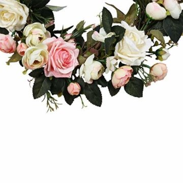 Pauwer Deko Kranz Wandkranz Handgefertigt Kranz Für Outdoor Türkranz Rose Rebe Blumenkranz Künstliche Dekorative Landschaftsbau Kranz (Pinke Rose, Durchmesser 35cm) - 5