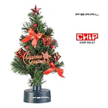 PEARL Mini Weihnachtsbaum: USB-Weihnachtsbaum mit LED-Farbwechsel-Glasfaserlichtern (Weihnachtsbaum fürs Auto) - 1