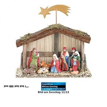 PEARL Weihnachtskrippe: Weihnachts-Krippe (10-teilig) mit handbemalten Porzellan-Figuren (Weihnachtskrippen Figuren) - 1