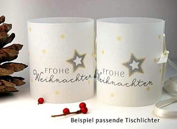 Personalisierbare Bestecktasche Frohe Weihnachten elegant weiß Setpreis für 10 Stück - 2