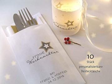 Personalisierbare Bestecktasche Frohe Weihnachten elegant weiß Setpreis für 10 Stück - 1