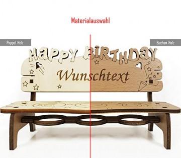 PISDEZ - Geburtstagsgeschenk - personalisierte Geburtstagsbank Kerzenständer Kerzenhalter Holz Geschenke für Eltern - Wunschgravur - 2