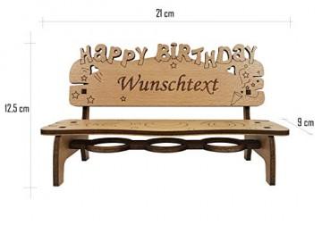 PISDEZ - Geburtstagsgeschenk - personalisierte Geburtstagsbank Kerzenständer Kerzenhalter Holz Geschenke für Eltern - Wunschgravur - 3