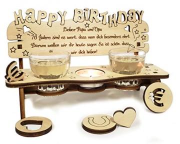 PISDEZ - Geburtstagsgeschenk - personalisierte Geburtstagsbank Kerzenständer Kerzenhalter Holz Geschenke für Eltern - Wunschgravur - 1