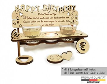 PISDEZ - Geburtstagsgeschenk - personalisierte Geburtstagsbank Kerzenständer Kerzenhalter Holz Geschenke für Eltern - Wunschgravur - 5