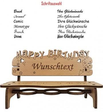 PISDEZ - Geburtstagsgeschenk - personalisierte Geburtstagsbank Kerzenständer Kerzenhalter Holz Geschenke für Eltern - Wunschgravur - 6
