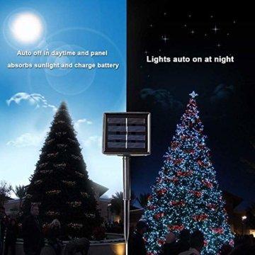 Qedertek Solar Lichterketten Weihnachtsbeleuchtung außen, 20M 200 LED Solarlichterkette Wasserdichte, 8 Modi Solar Weihnachtsbaum Lichterkette Deko für Garten, Terrasse, Party, Hochzeit (Weiß) - 3