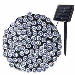 Qedertek Solar Lichterketten Weihnachtsbeleuchtung außen, 20M 200 LED Solarlichterkette Wasserdichte, 8 Modi Solar Weihnachtsbaum Lichterkette Deko für Garten, Terrasse, Party, Hochzeit (Weiß) - 1