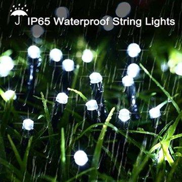 Qedertek Solar Lichterketten Weihnachtsbeleuchtung außen, 20M 200 LED Solarlichterkette Wasserdichte, 8 Modi Solar Weihnachtsbaum Lichterkette Deko für Garten, Terrasse, Party, Hochzeit (Weiß) - 6