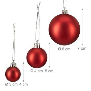 Relaxdays Weihnachtskugeln, 100er Set, Weihnachtsdeko, matt, glänzend, glitzernd, Christbaumkugel ∅ 3,4 & 6 cm, rot, PS, 7 x 6 x 6 cm - 3