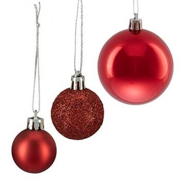 Relaxdays Weihnachtskugeln, 100er Set, Weihnachtsdeko, matt, glänzend, glitzernd, Christbaumkugel ∅ 3,4 & 6 cm, rot, PS, 7 x 6 x 6 cm - 7