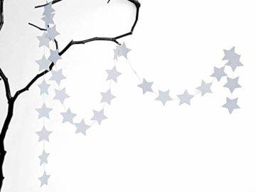 renna deluxe Stern Girlande Sterne Papiergirlande Weiß Dekoration Hochzeit Geburtstag Weihnachten - 4