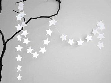 renna deluxe Stern Girlande Sterne Papiergirlande Weiß Dekoration Hochzeit Geburtstag Weihnachten - 1