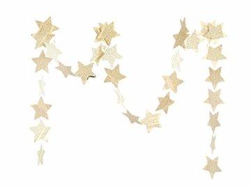 renna deluxe Stern Girlande Sterne Papiergirlande Weiß Dekoration Hochzeit Geburtstag Weihnachten - 5