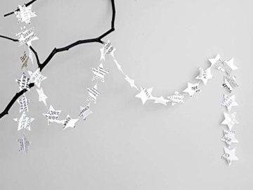 renna deluxe Stern Girlande Sterne Papiergirlande Weiß Dekoration Hochzeit Geburtstag Weihnachten - 7