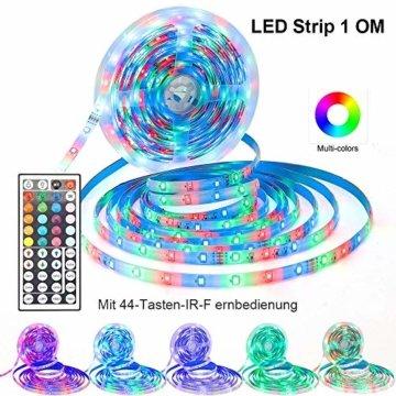 RGB LED Strip 10M, Hospaop LED Streifen 2x 5M 300 Led Bänder IP65 Wasserdicht Lichtband mit Netzteil 44-Tasten Fernbedienung Selbstklebend für Innen außen Beleuchtung Deko [Energieklasse A+] - 4