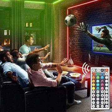 RGB LED Strip 10M, Hospaop LED Streifen 2x 5M 300 Led Bänder IP65 Wasserdicht Lichtband mit Netzteil 44-Tasten Fernbedienung Selbstklebend für Innen außen Beleuchtung Deko [Energieklasse A+] - 5