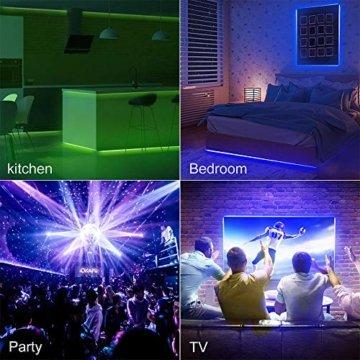 RGB LED Strip 10M, Hospaop LED Streifen 2x 5M 300 Led Bänder IP65 Wasserdicht Lichtband mit Netzteil 44-Tasten Fernbedienung Selbstklebend für Innen außen Beleuchtung Deko [Energieklasse A+] - 6