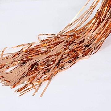 Rose Gold Metallic Tinsel Vorhänge,2 Stück Folie Fringe Shimmer Vorhang,Quaste Folie Vorhang Metallic,Folie Fransen Vorhänge Tür,Lametta Vorhang dekorative - 4