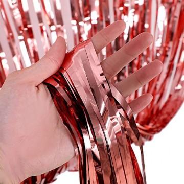 Rose Gold Metallic Tinsel Vorhänge,2 Stück Folie Fringe Shimmer Vorhang,Quaste Folie Vorhang Metallic,Folie Fransen Vorhänge Tür,Lametta Vorhang dekorative - 5