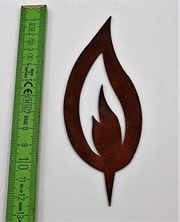 Rostikal® 10 er Set Rost Flamme Edelrost   Rostige Weihnachtsdeko Kerze zum Einschlagen, Kerzenflamme   10 cm hoch - 2