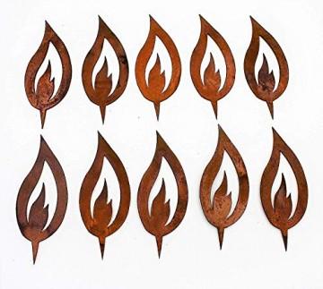 Rostikal® 10 er Set Rost Flamme Edelrost   Rostige Weihnachtsdeko Kerze zum Einschlagen, Kerzenflamme   10 cm hoch - 1