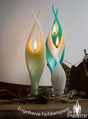 Rote Kerze Engelslicht handgemacht. Weihnachtsgeschenk oder Weihnachtsdeko auch als schöne Tischdeko. Werden Sie von dieser edlen Dekoration verzaubert - 5
