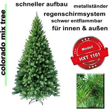 RS Trade HXT 1101 künstlicher Weihnachtsbaum 180 cm (Ø ca. 106 cm) mit 824 Spitzen und Schnellaufbau Klapp-Schirmsystem, schwer entflammbar, unechter Tannenbaum inkl. Metall Christbaum Ständer - 2