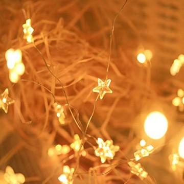 SALCAR 10m 100er LED Lichterkette Stern Kupfer USB-Schnittstelle, Wasserdicht LED Draht Micro Weihnachtsbeleuchtung für Innen- und Außenbereich - 2