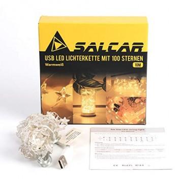 SALCAR 10m 100er LED Lichterkette Stern Kupfer USB-Schnittstelle, Wasserdicht LED Draht Micro Weihnachtsbeleuchtung für Innen- und Außenbereich - 4