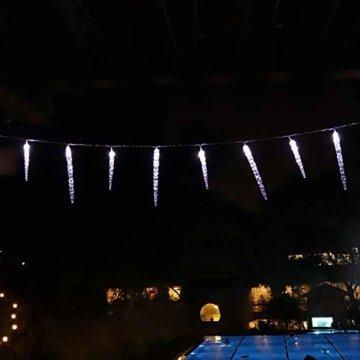 Salcar Kaltweiß LED Eiszapfen, 40er LED Eiszapfenkette Kette 5m LED Lichterkette + 5m Stromkabel (insgesamt 10 m lang), Weihnachtsbeleuchtung Deko für Innen Aussen 9 Modi Trafo - 4