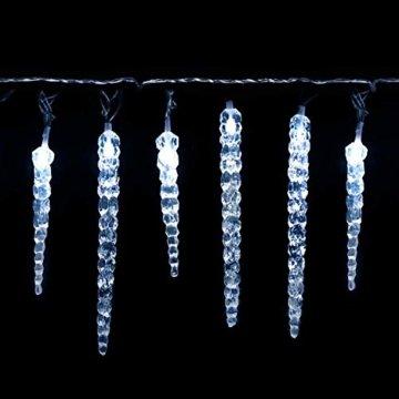 Salcar Kaltweiß LED Eiszapfen, 40er LED Eiszapfenkette Kette 5m LED Lichterkette + 5m Stromkabel (insgesamt 10 m lang), Weihnachtsbeleuchtung Deko für Innen Aussen 9 Modi Trafo - 1